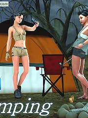 An argument over a tent ends up as a switching for one of the 2 girls